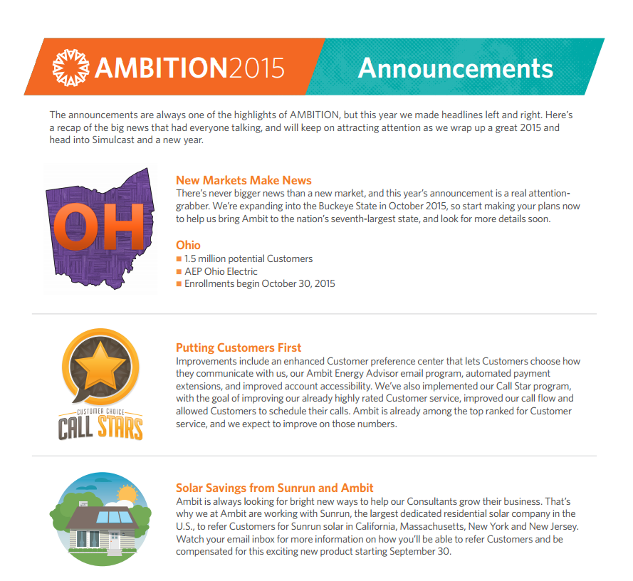 Ambition 2015 Announcements part 1